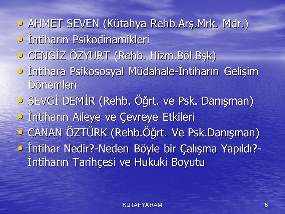 KÜTAHYA RAM6 AHMET SEVEN (Kütahya Rehb.Arş.Mrk.Mdr.) AHMET SEVEN (Kütahya Rehb.Arş.Mrk.
