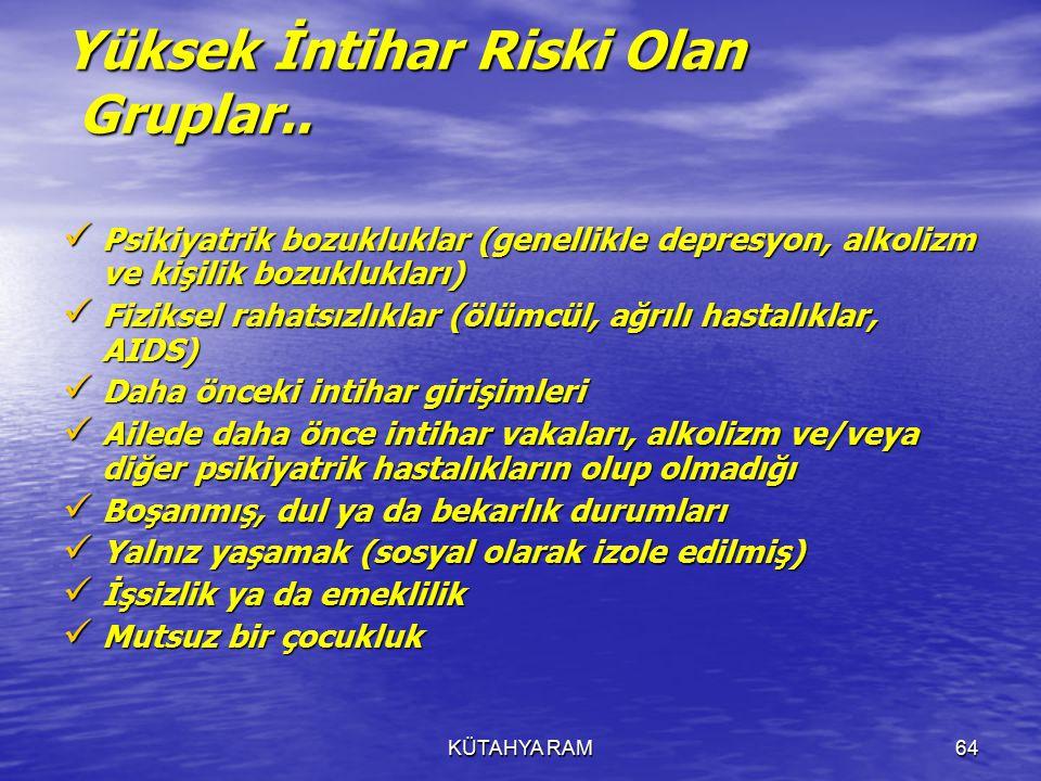 KÜTAHYA RAM64 Yüksek İntihar Riski Olan Gruplar..