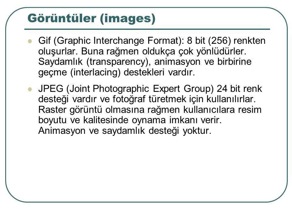 Görüntüler (images) Gif (Graphic Interchange Format): 8 bit (256) renkten oluşurlar.