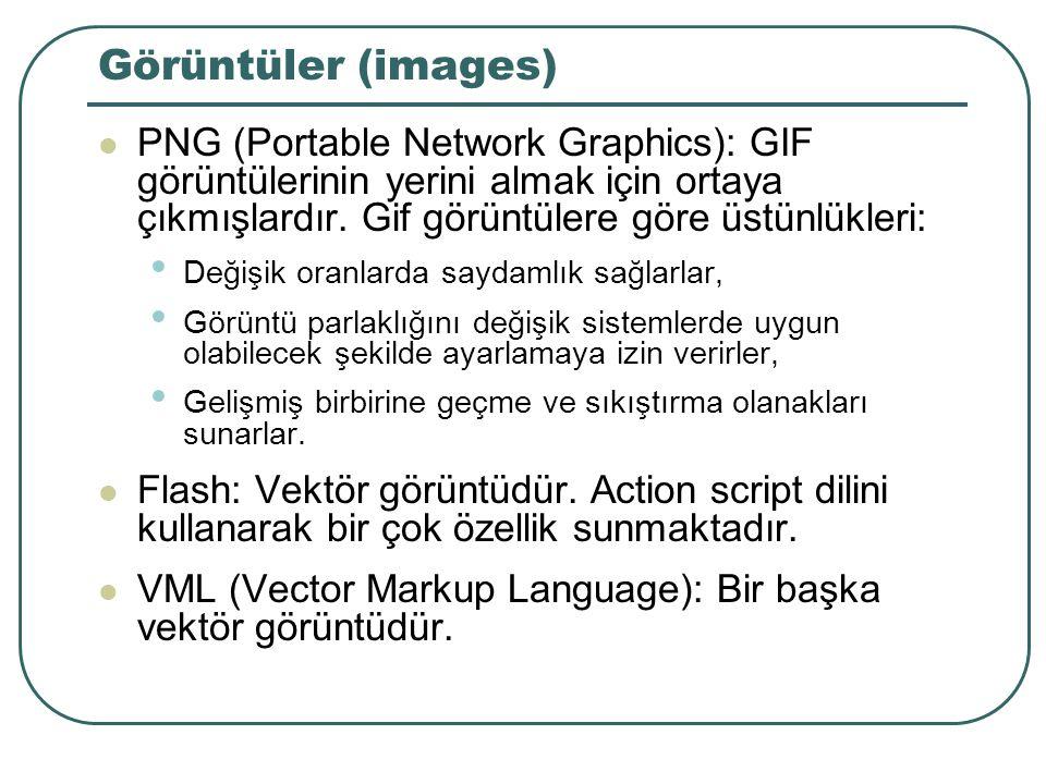 Görüntüler (images) PNG (Portable Network Graphics): GIF görüntülerinin yerini almak için ortaya çıkmışlardır.