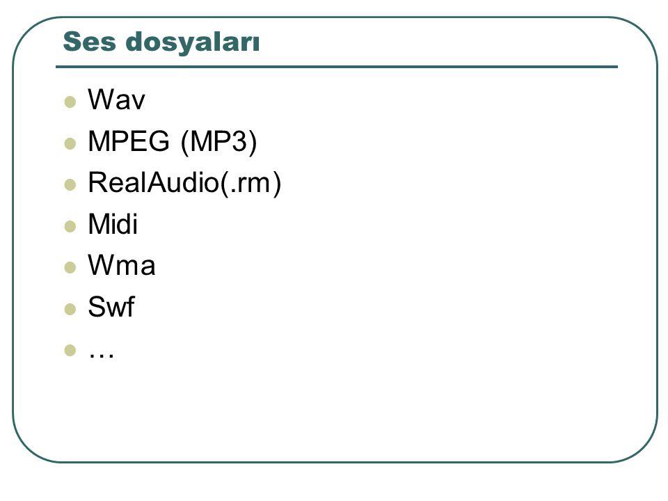 Ses dosyaları Wav MPEG (MP3) RealAudio(.rm) Midi Wma Swf …