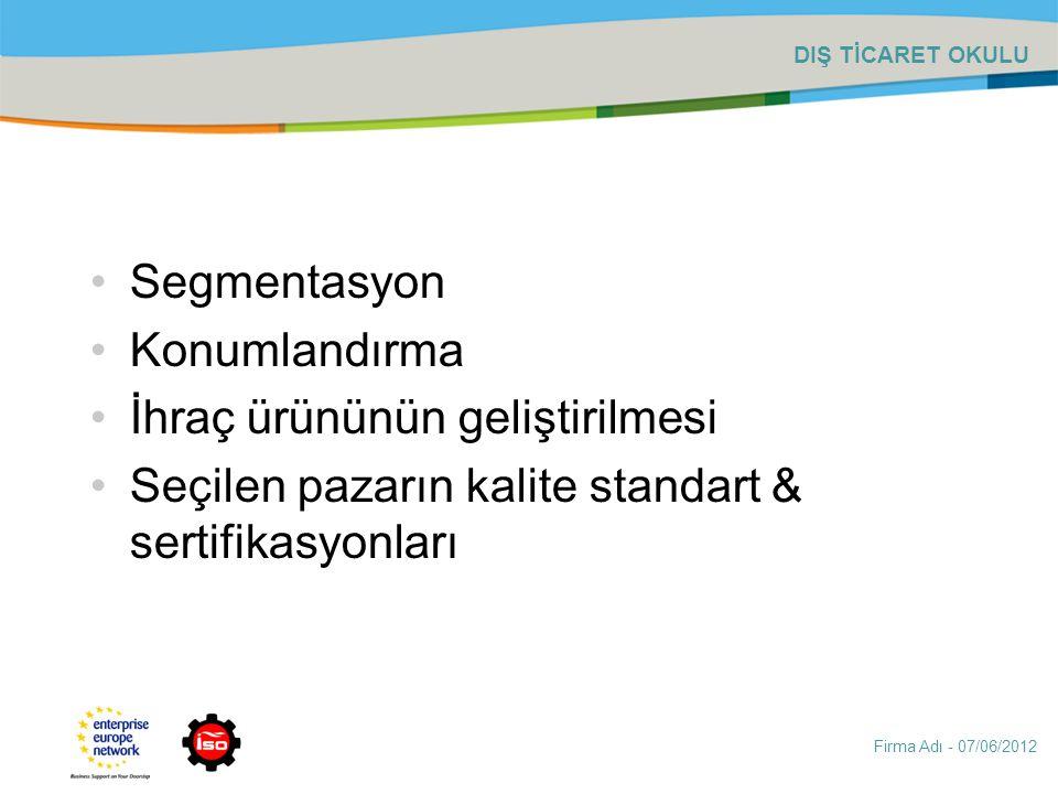 Firma Adı - 07/06/2012 DIŞ TİCARET OKULU Segmentasyon Konumlandırma İhraç ürününün geliştirilmesi Seçilen pazarın kalite standart & sertifikasyonları