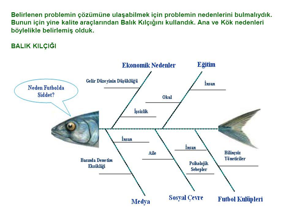 Belirlenen problemin çözümüne ulaşabilmek için problemin nedenlerini bulmalıydık. Bunun için yine kalite araçlarından Balık Kılçığını kullandık. Ana v