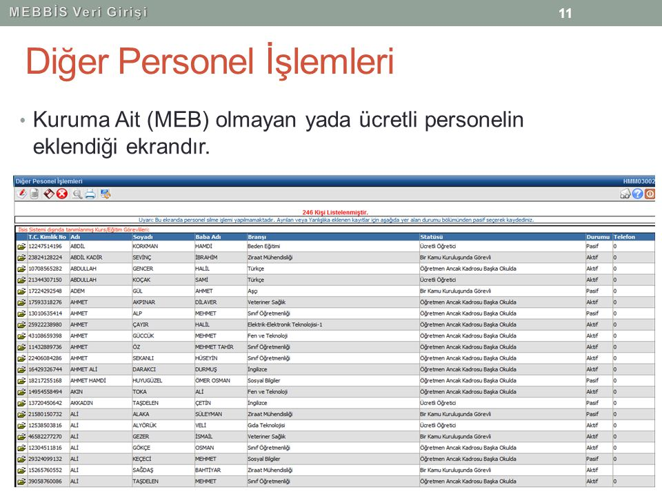 Diğer Personel İşlemleri Kuruma Ait (MEB) olmayan yada ücretli personelin eklendiği ekrandır. 11