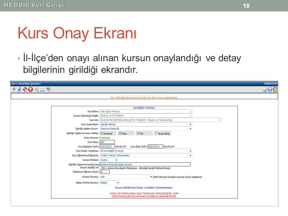 Kurs Onay Ekranı İl-İlçe'den onayı alınan kursun onaylandığı ve detay bilgilerinin girildiği ekrandır. 18