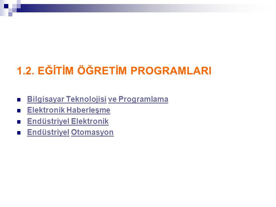 ENDÜSTRİYEL OTOMASYON-I Program 1992 yılında YÖK-Dünya Bankası II.