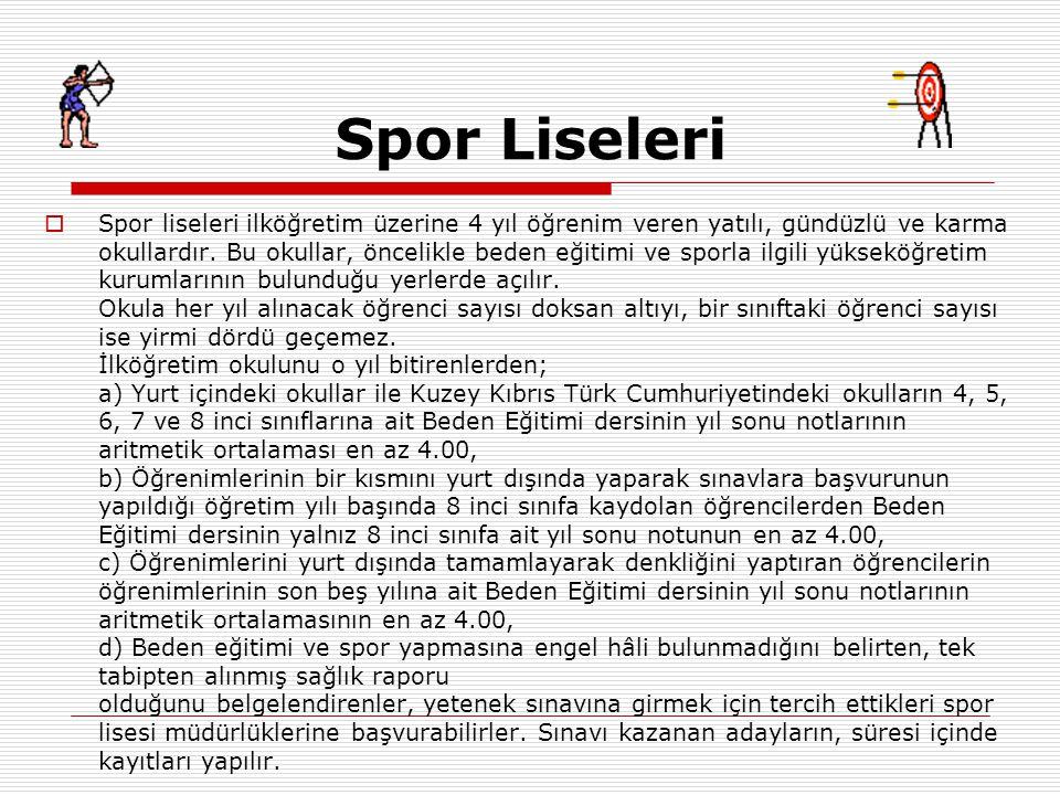 Spor Liseleri  Spor liseleri ilköğretim üzerine 4 yıl öğrenim veren yatılı, gündüzlü ve karma okullardır.