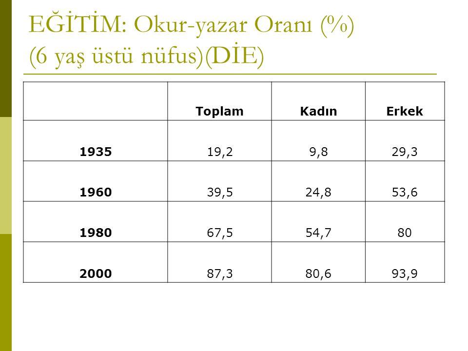 EĞİTİM: Okur-yazar Oranı (%) (6 yaş üstü nüfus)(DİE) ToplamKadınErkek 193519,29,829,3 196039,524,853,6 198067,554,780 200087,380,693,9