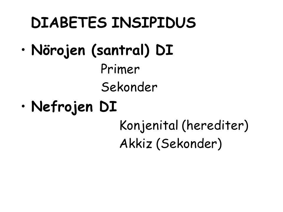 DIABETES INSIPIDUS Nörojen (santral) DI Primer Sekonder Nefrojen DI Konjenital (herediter) Akkiz (Sekonder)