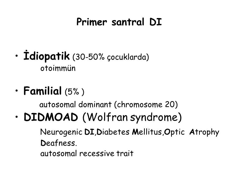 Primer santral DI İdiopatik (30-50% çocuklarda) otoimmün Familial (5% ) autosomal dominant (chromosome 20) DIDMOAD (Wolfran syndrome) Neurogenic DI,Di