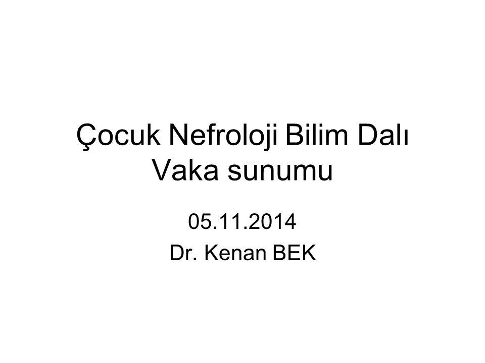 Çocuk Nefroloji Bilim Dalı Vaka sunumu 05.11.2014 Dr. Kenan BEK
