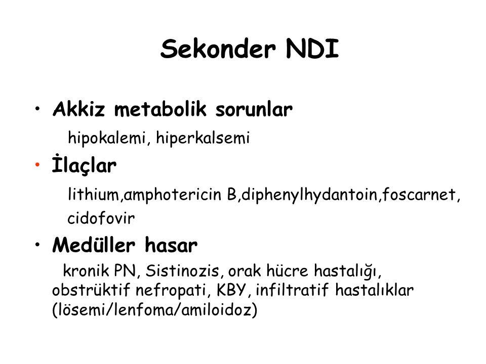 Sekonder NDI Akkiz metabolik sorunlar hipokalemi, hiperkalsemi İlaçlar lithium,αmphotericin Β,diphenylhydantoin,foscarnet, cidofovir Medüller hasar kr