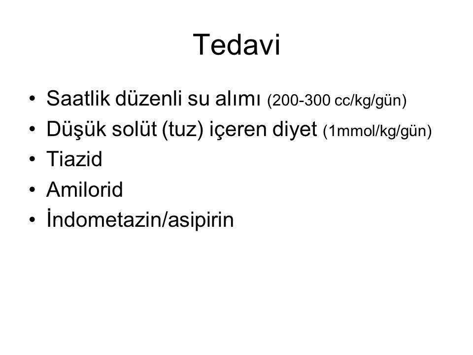 Tedavi Saatlik düzenli su alımı (200-300 cc/kg/gün) Düşük solüt (tuz) içeren diyet (1mmol/kg/gün) Tiazid Amilorid İndometazin/asipirin