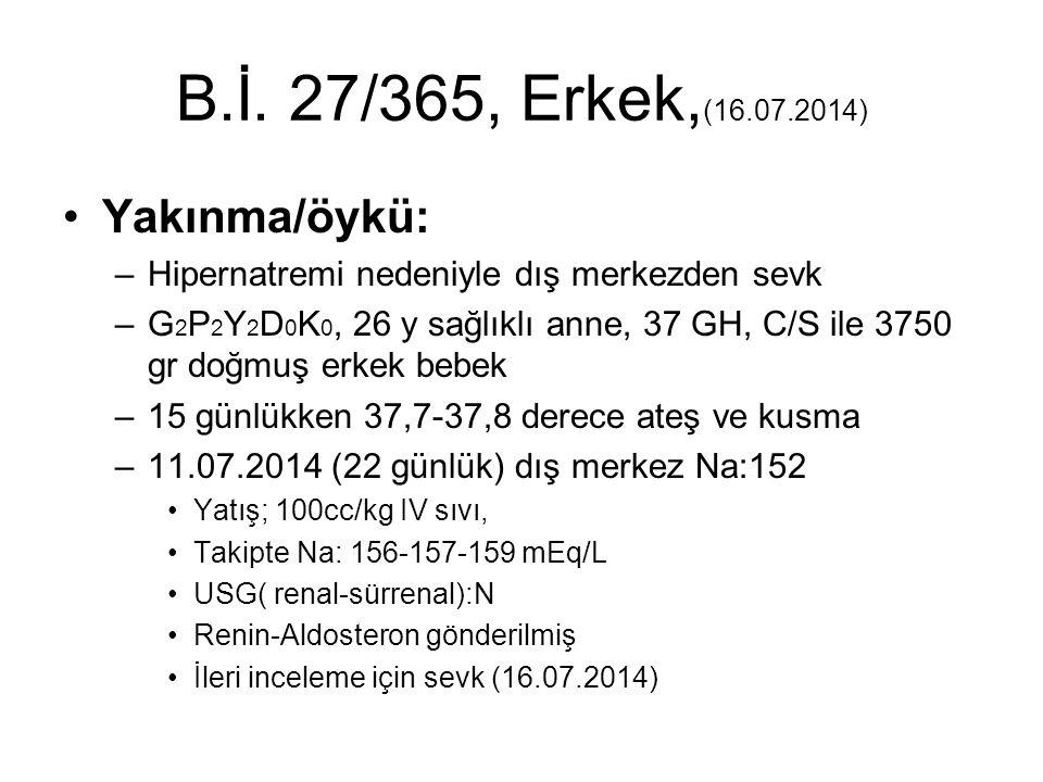 B.İ. 27/365, Erkek, (16.07.2014) Yakınma/öykü: –Hipernatremi nedeniyle dış merkezden sevk –G 2 P 2 Y 2 D 0 K 0, 26 y sağlıklı anne, 37 GH, C/S ile 375
