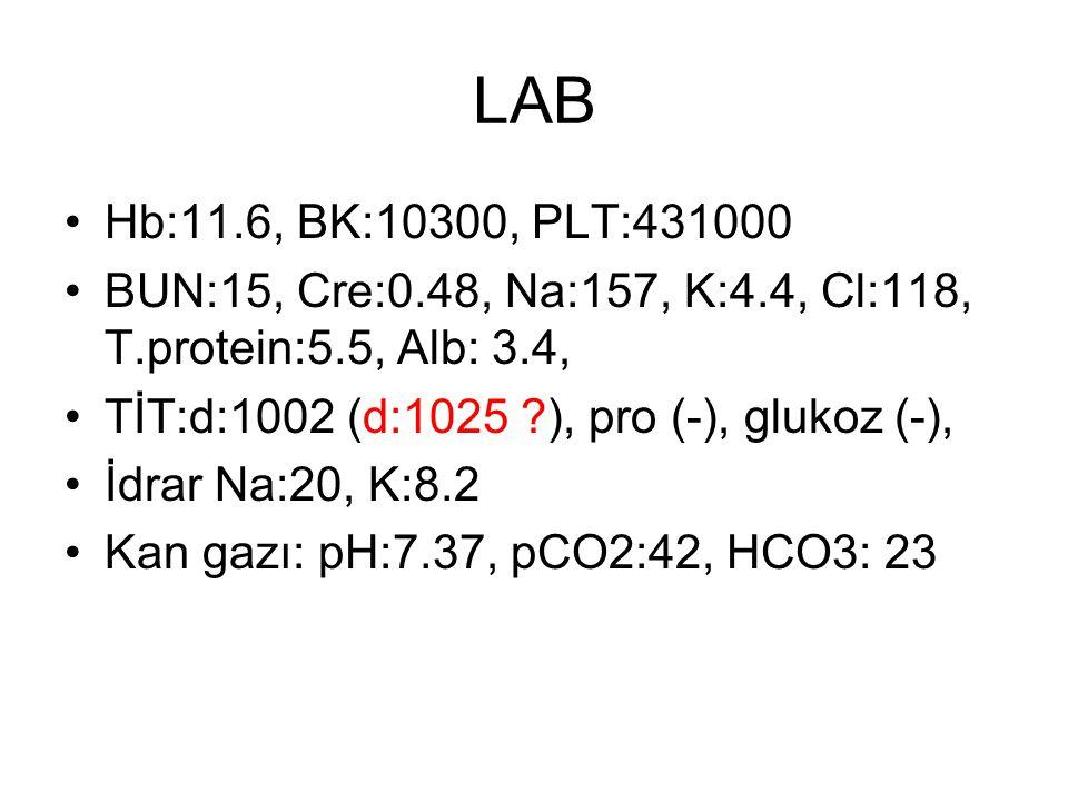 LAB Hb:11.6, BK:10300, PLT:431000 BUN:15, Cre:0.48, Na:157, K:4.4, Cl:118, T.protein:5.5, Alb: 3.4, TİT:d:1002 (d:1025 ?), pro (-), glukoz (-), İdrar