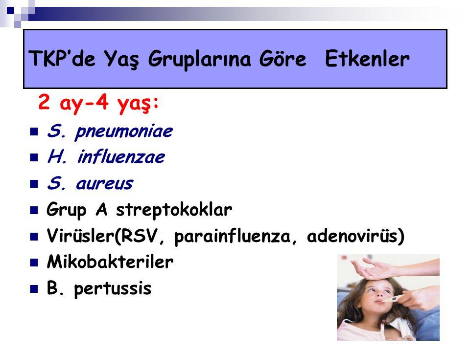 2 ay-4 yaş: S. pneumoniae H. influenzae S. aureus Grup A streptokoklar Virüsler(RSV, parainfluenza, adenovirüs) Mikobakteriler B. pertussis TKP'de Yaş