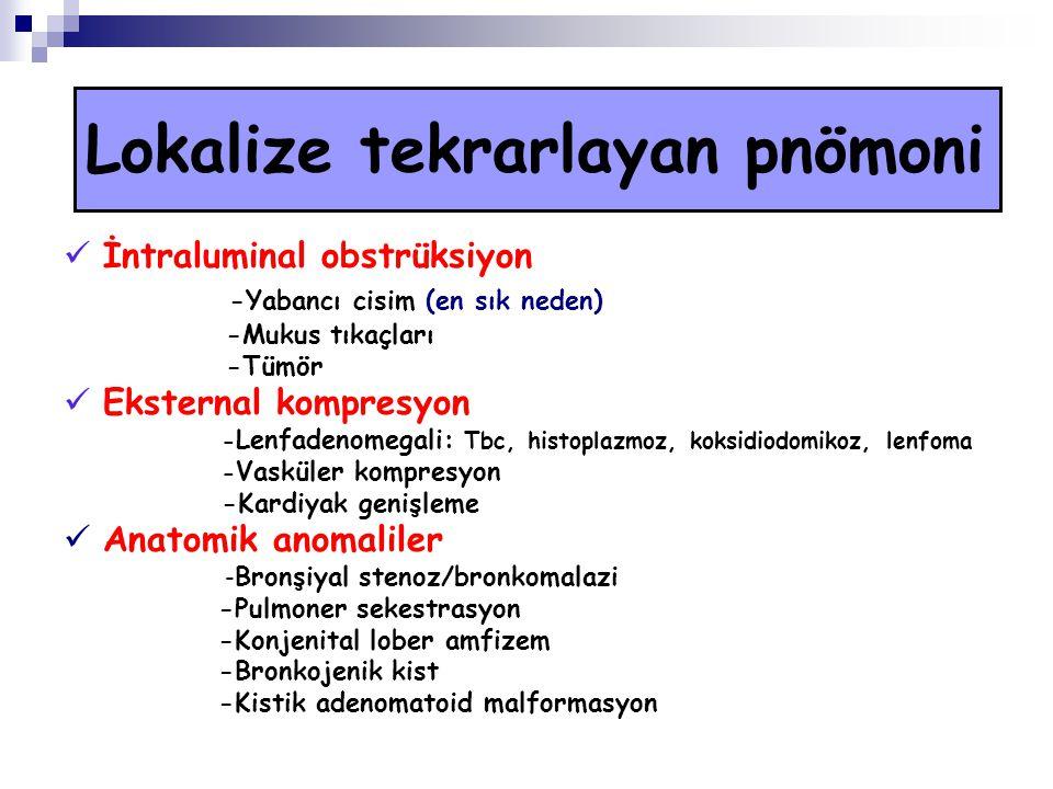 Lokalize tekrarlayan pnömoni İntraluminal obstrüksiyon -Yabancı cisim (en sık neden) -Mukus tıkaçları -Tümör Eksternal kompresyon - Lenfadenomegali: Tbc, histoplazmoz, koksidiodomikoz, lenfoma - Vasküler kompresyon -Kardiyak genişleme Anatomik anomaliler - Bronşiyal stenoz/bronkomalazi -Pulmoner sekestrasyon -Konjenital lober amfizem -Bronkojenik kist -Kistik adenomatoid malformasyon