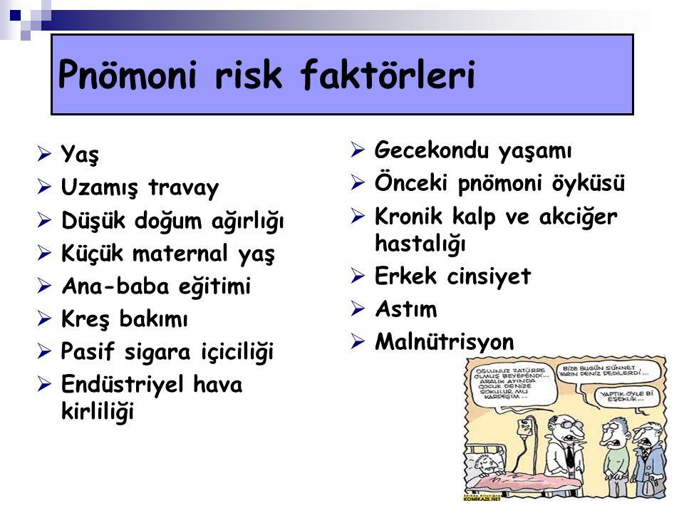 Pnömoni risk faktörleri  Yaş  Uzamış travay  Düşük doğum ağırlığı  Küçük maternal yaş  Ana-baba eğitimi  Kreş bakımı  Pasif sigara içiciliği 