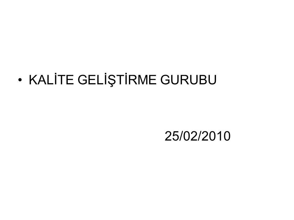 KALİTE GELİŞTİRME GURUBU 25/02/2010