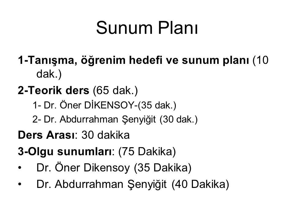 Sunum Planı 1-Tanışma, öğrenim hedefi ve sunum planı (10 dak.) 2-Teorik ders (65 dak.) 1- Dr. Öner DİKENSOY-(35 dak.) 2- Dr. Abdurrahman Şenyiğit (30