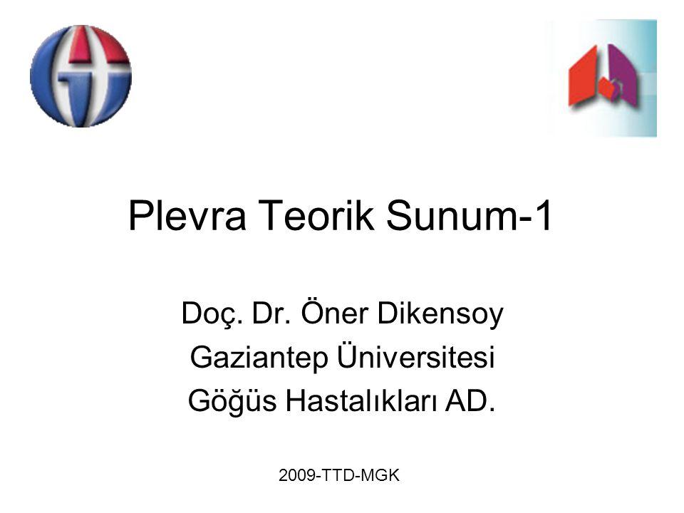 Plevra Teorik Sunum-1 Doç. Dr. Öner Dikensoy Gaziantep Üniversitesi Göğüs Hastalıkları AD. 2009-TTD-MGK