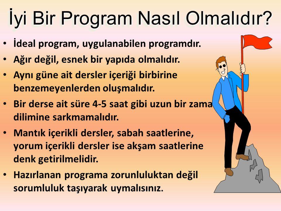Program Nasıl Hazırlanır? 1. Aşama – Eksiklerinizi tespit etmeli, – Her ders ile ilgili hangi konuları öğreneceğinizi belirlemeli, – Bunları sıralamal