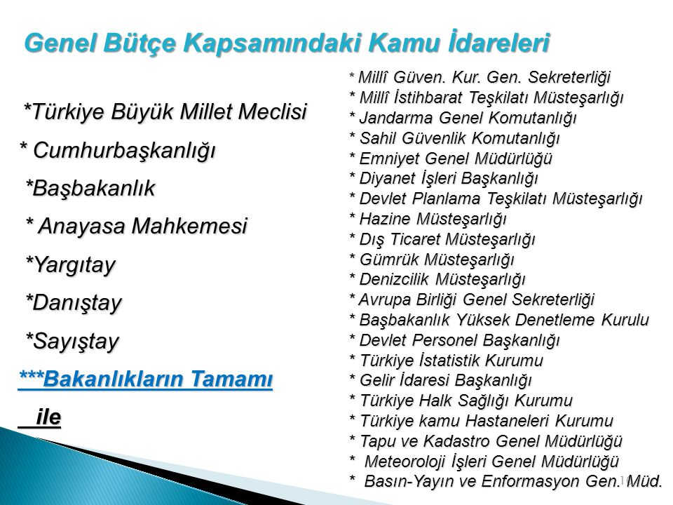 10 *Türkiye Büyük Millet Meclisi *Türkiye Büyük Millet Meclisi * Cumhurbaşkanlığı *Başbakanlık *Başbakanlık * Anayasa Mahkemesi * Anayasa Mahkemesi *Y