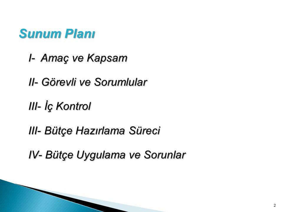 I- Amaç ve Kapsam II- Görevli ve Sorumlular III- İç Kontrol III- Bütçe Hazırlama Süreci IV- Bütçe Uygulama ve Sorunlar 2 Sunum Planı