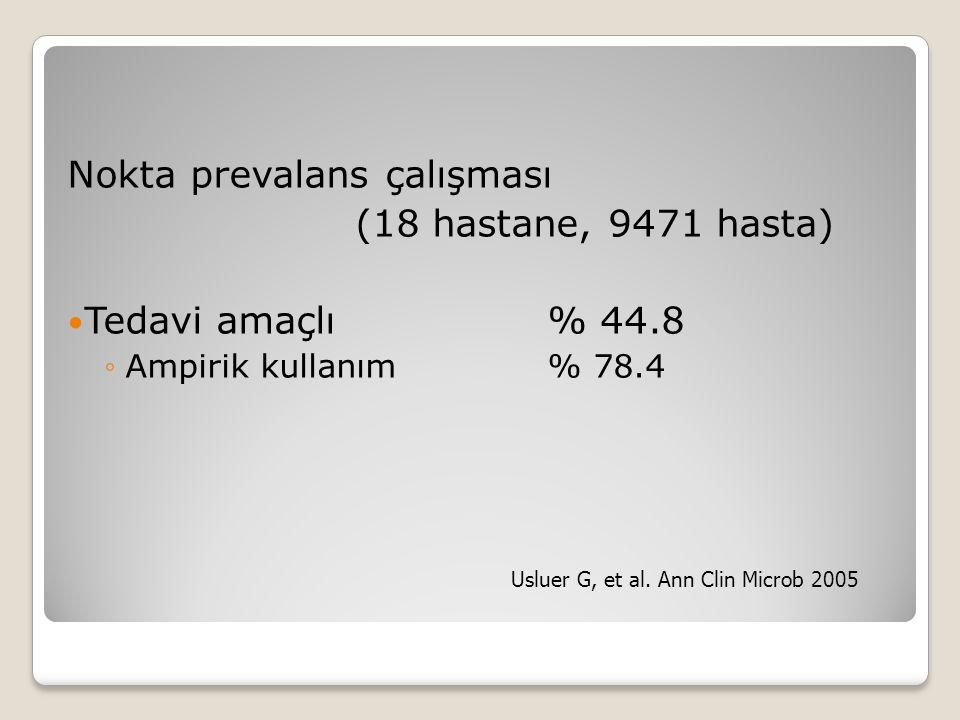 Nokta prevalans çalışması (18 hastane, 9471 hasta) Tedavi amaçlı% 44.8 ◦Ampirik kullanım % 78.4 Usluer G, et al. Ann Clin Microb 2005