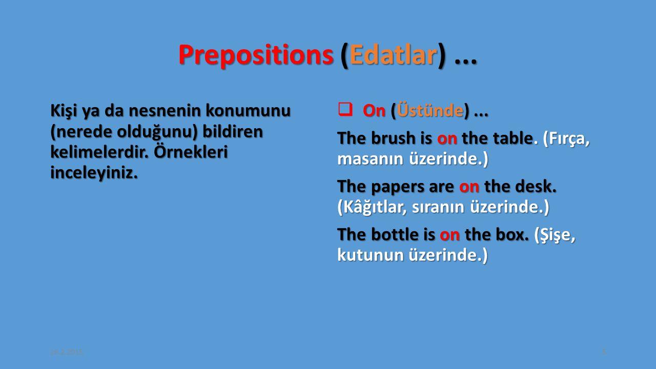 Prepositions (Edatlar)...Kişi ya da nesnenin konumunu (nerede olduğunu) bildiren kelimelerdir.