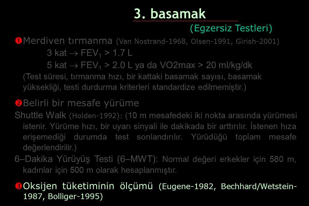 3. basamak   Merdiven tırmanma (Van Nostrand-1968, Olsen-1991, Girish-2001) 3 kat  FEV 1 > 1.7 L 5 kat  FEV 1 > 2.0 L ya da VO2max > 20 ml/kg/dk 