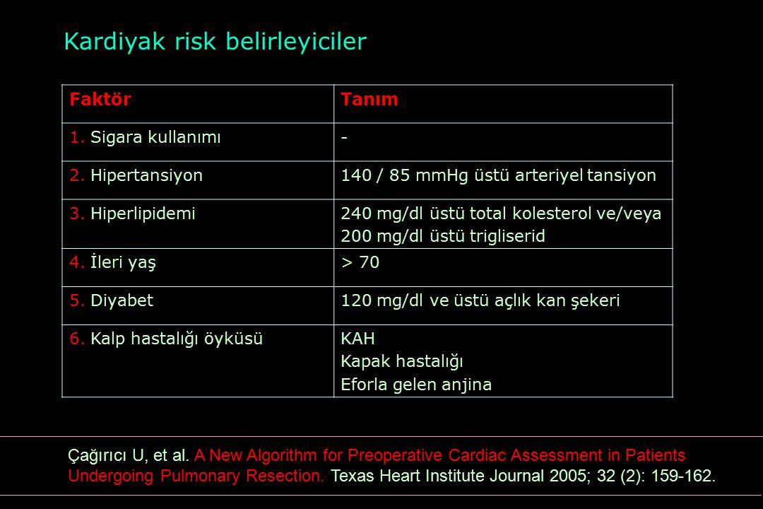 Kardiyak risk belirleyiciler FaktörTanım 1. Sigara kullanımı- 2. Hipertansiyon140 / 85 mmHg üstü arteriyel tansiyon 3. Hiperlipidemi240 mg/dl üstü tot