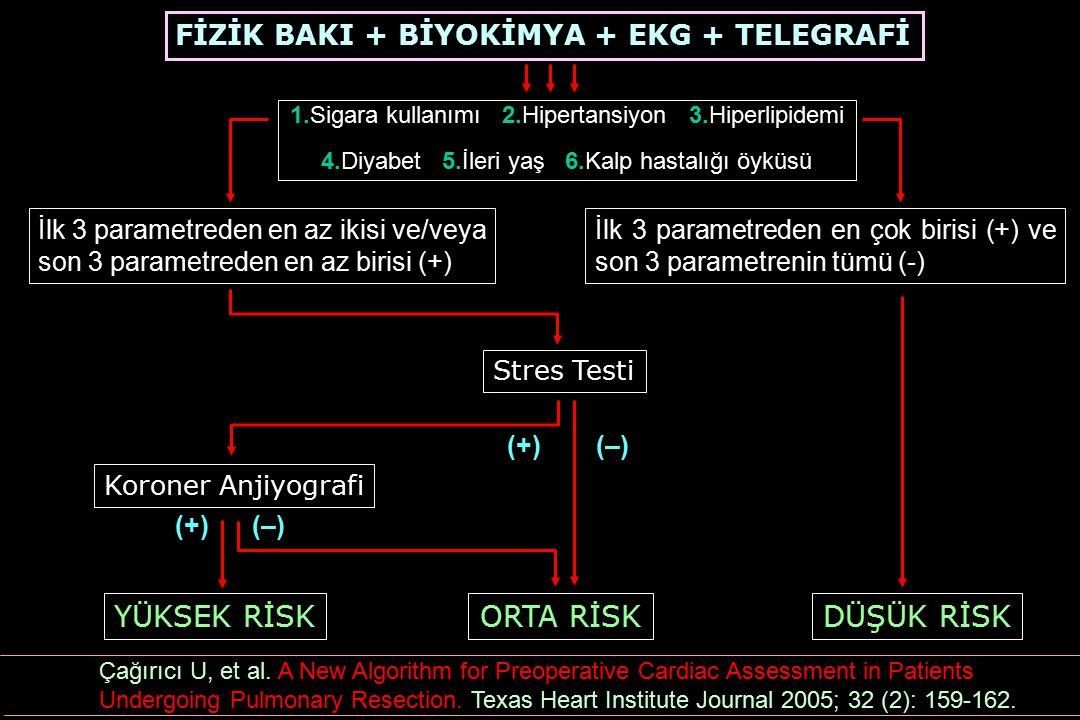 FİZİK BAKI + BİYOKİMYA + EKG + TELEGRAFİ 1.Sigara kullanımı 2.Hipertansiyon 3.Hiperlipidemi 4.Diyabet 5.İleri yaş 6.Kalp hastalığı öyküsü İlk 3 parame