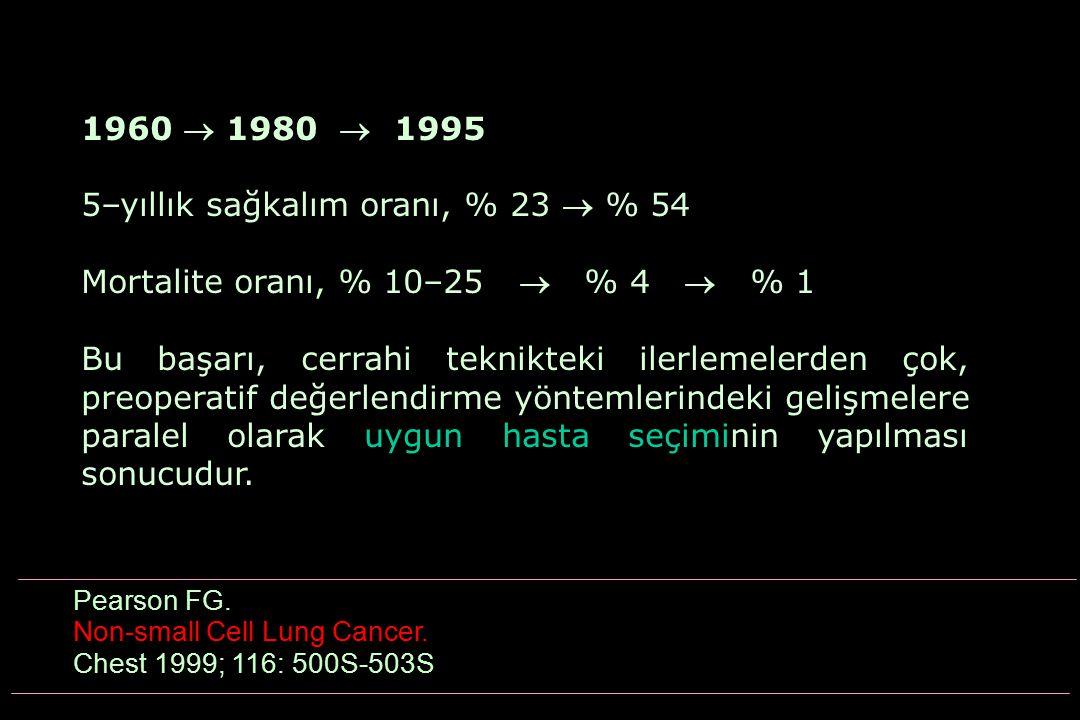 1960  1980  1995 5–yıllık sağkalım oranı, % 23  % 54 Mortalite oranı, % 10–25  % 4  % 1 Bu başarı, cerrahi teknikteki ilerlemelerden çok, preoper