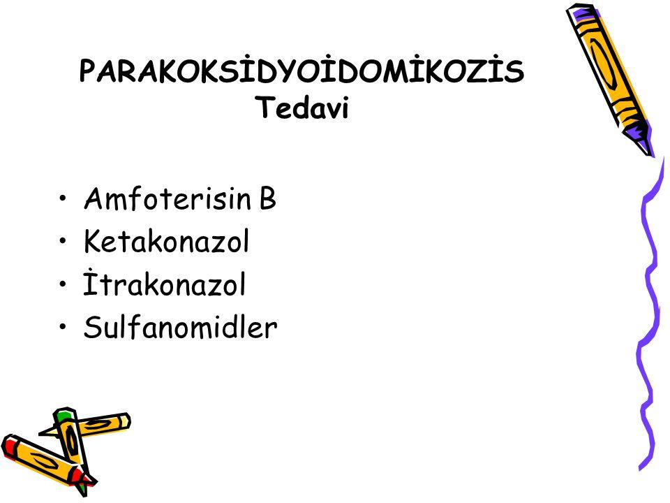 PARAKOKSİDYOİDOMİKOZİS Tedavi Amfoterisin B Ketakonazol İtrakonazol Sulfanomidler