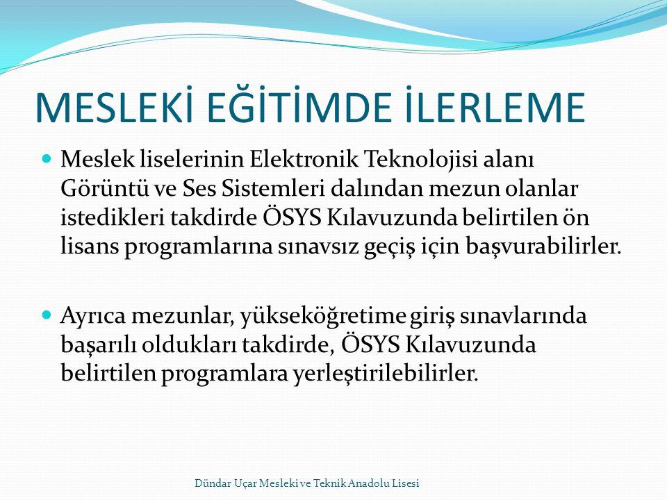MESLEKİ EĞİTİMDE İLERLEME Meslek liselerinin Elektronik Teknolojisi alanı Görüntü ve Ses Sistemleri dalından mezun olanlar istedikleri takdirde ÖSYS K