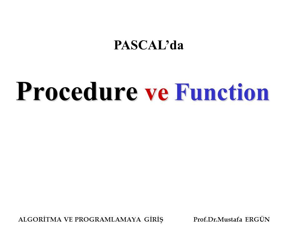 ALGORİTMA VE PROGRAMLAMAYA GİRİŞ Prof.Dr.Mustafa ERGÜN Procedure ve Function PASCAL'da