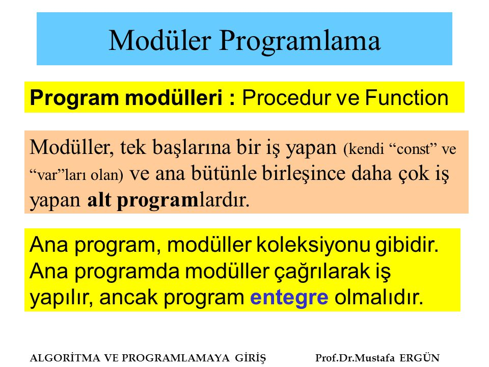 Modüler Programlama ALGORİTMA VE PROGRAMLAMAYA GİRİŞ Prof.Dr.Mustafa ERGÜN Program modülleri : Procedur ve Function Ana program, modüller koleksiyonu