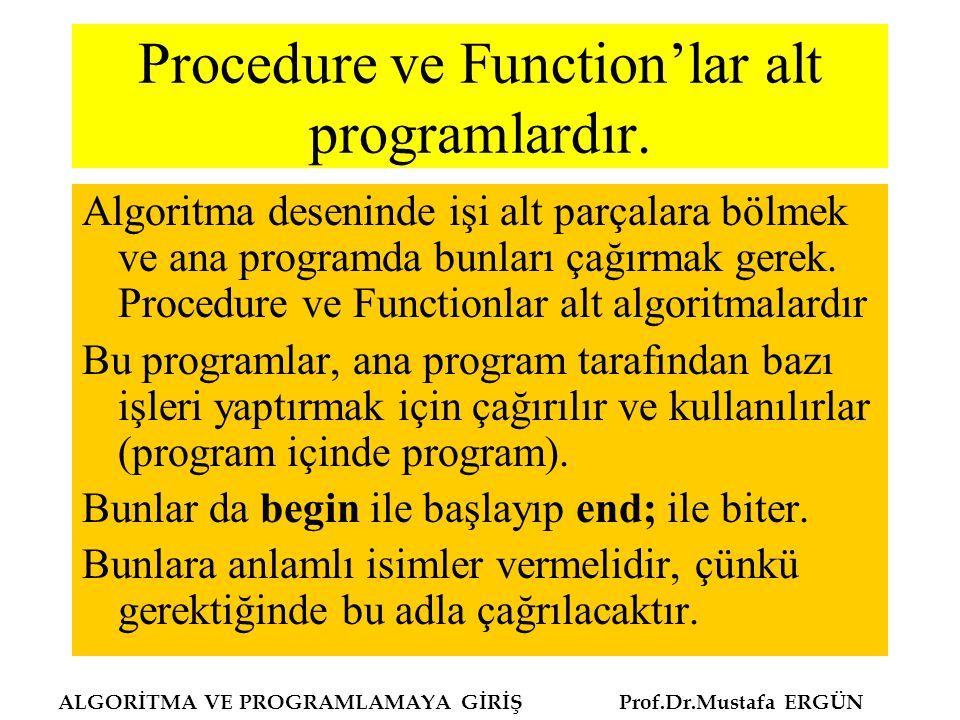 Procedure ve Function'lar alt programlardır. Algoritma deseninde işi alt parçalara bölmek ve ana programda bunları çağırmak gerek. Procedure ve Functi