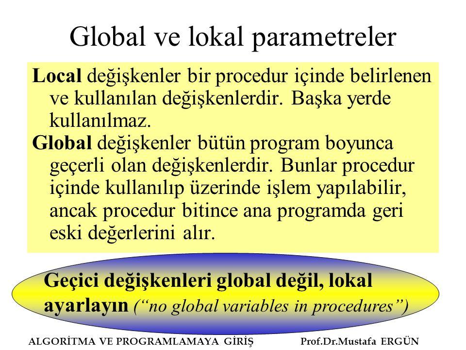 Global ve lokal parametreler Local değişkenler bir procedur içinde belirlenen ve kullanılan değişkenlerdir. Başka yerde kullanılmaz. Global değişkenle