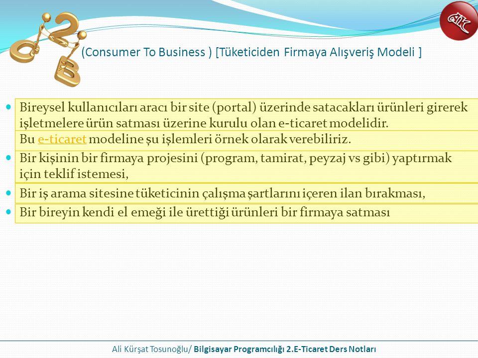 Ali Kürşat Tosunoğlu/ Bilgisayar Programcılığı 2.E-Ticaret Ders Notları (Consumer To Business ) [Tüketiciden Firmaya Alışveriş Modeli ] Bireysel kulla