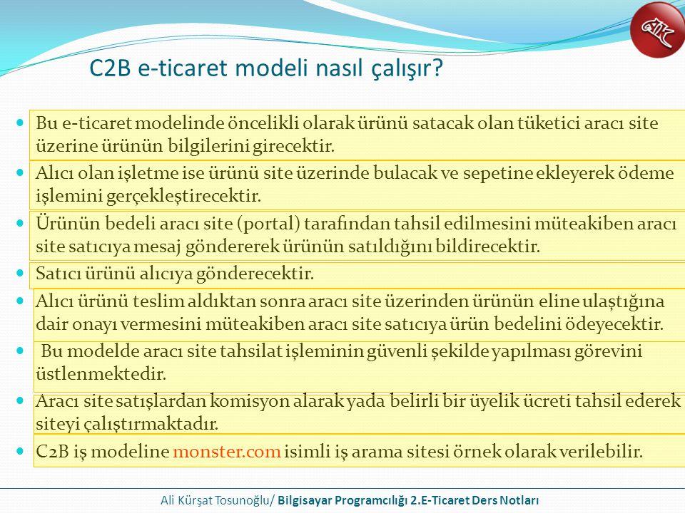 Ali Kürşat Tosunoğlu/ Bilgisayar Programcılığı 2.E-Ticaret Ders Notları Firmaların kendi bünyelerinde bulunan bilgisayar ağlarına kurdukları siteler yardımıyla işletme çalışanlarına bilgi sağladıkları sitelerdir.