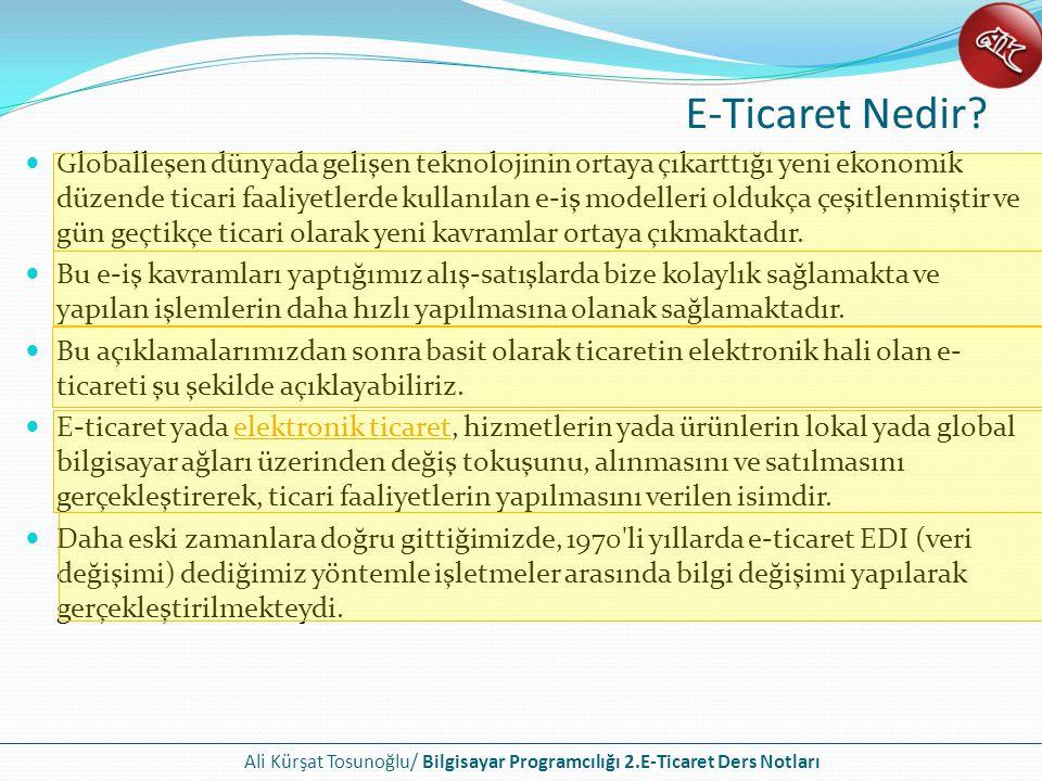 Ali Kürşat Tosunoğlu/ Bilgisayar Programcılığı 2.E-Ticaret Ders Notları E-Ticaret Nedir? Globalleşen dünyada gelişen teknolojinin ortaya çıkarttığı ye