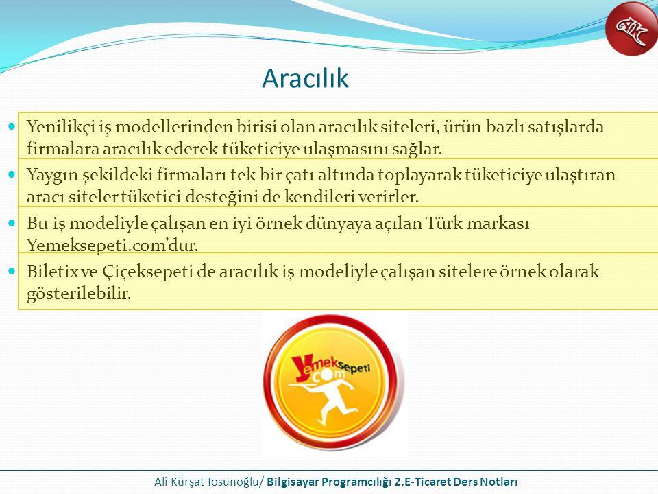 Ali Kürşat Tosunoğlu/ Bilgisayar Programcılığı 2.E-Ticaret Ders Notları Aracılık Yenilikçi iş modellerinden birisi olan aracılık siteleri, ürün bazlı
