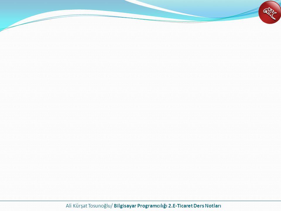 Ali Kürşat Tosunoğlu/ Bilgisayar Programcılığı 2.E-Ticaret Ders Notları
