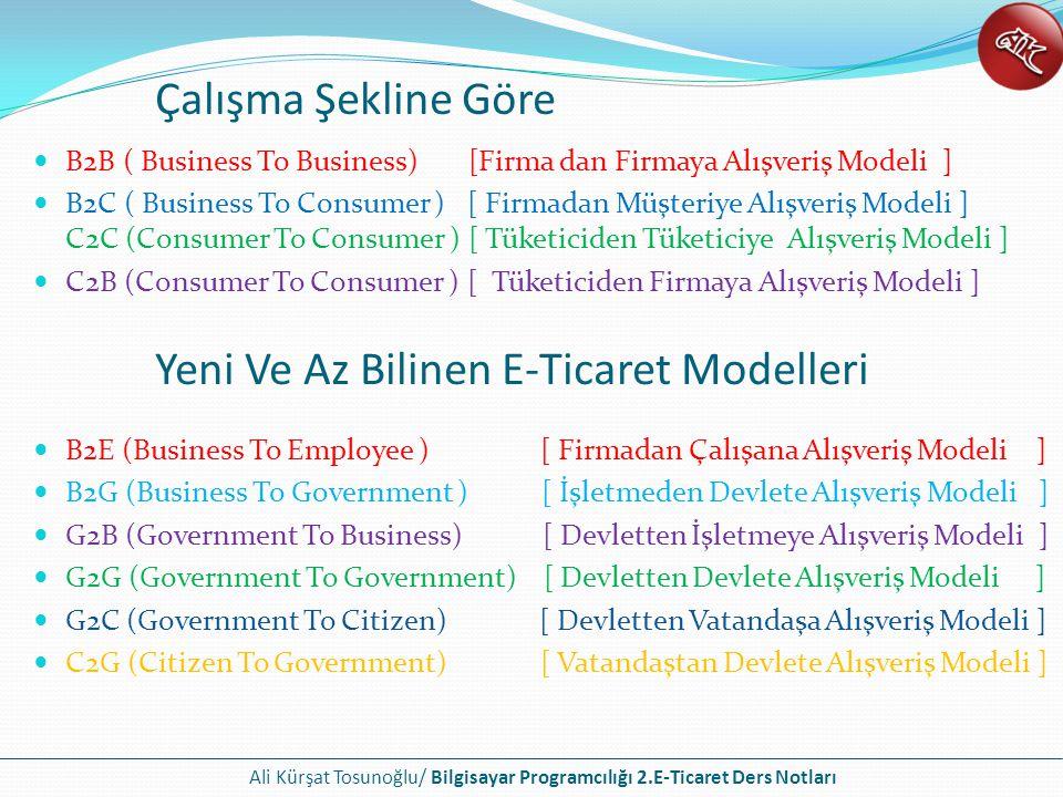 Ali Kürşat Tosunoğlu/ Bilgisayar Programcılığı 2.E-Ticaret Ders Notları B2B ( Business To Business) [Firma'dan Firmaya Alışveriş Modeli ] Firmadan firmaya yönelik e-ticaret olarak adlandırılan alışveriş biçimidir.