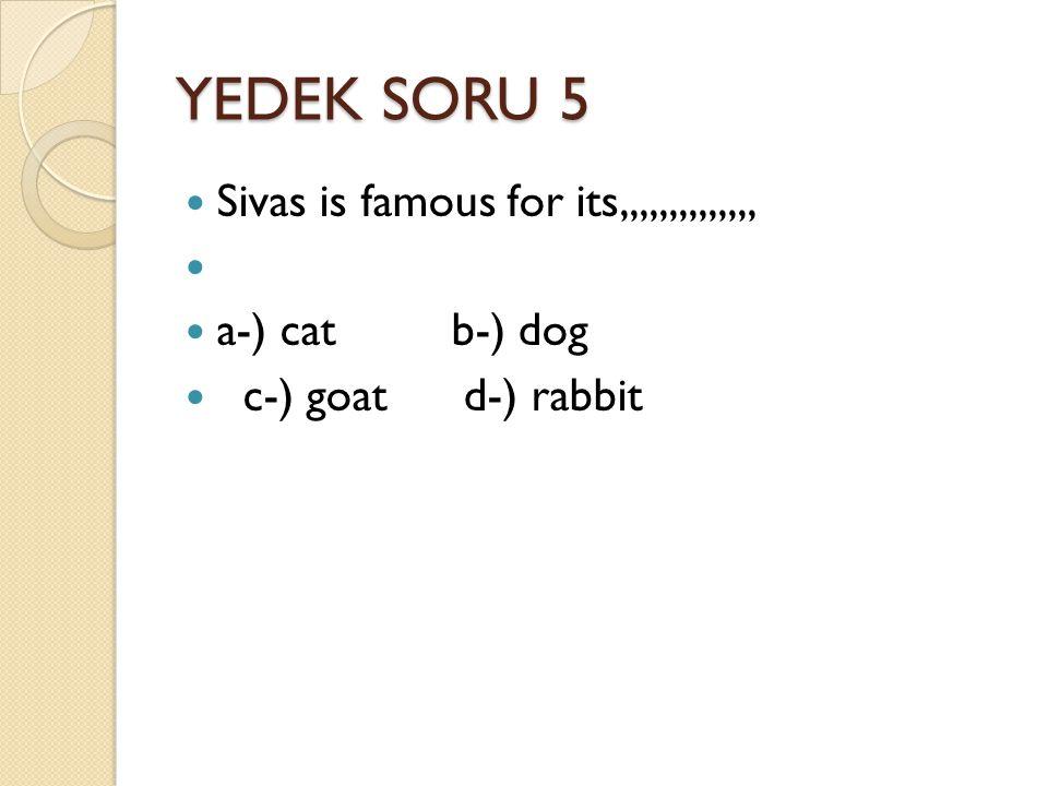 YEDEK SORU 5 Sivas is famous for its,,,,,,,,,,,,,, a-) cat b-) dog c-) goat d-) rabbit