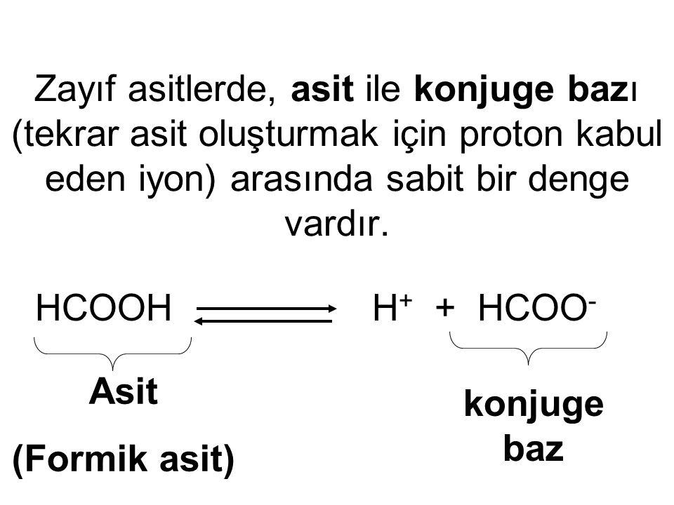 Zayıf asitlerde, asit ile konjuge bazı (tekrar asit oluşturmak için proton kabul eden iyon) arasında sabit bir denge vardır. HCOOH H + + HCOO - Asit (
