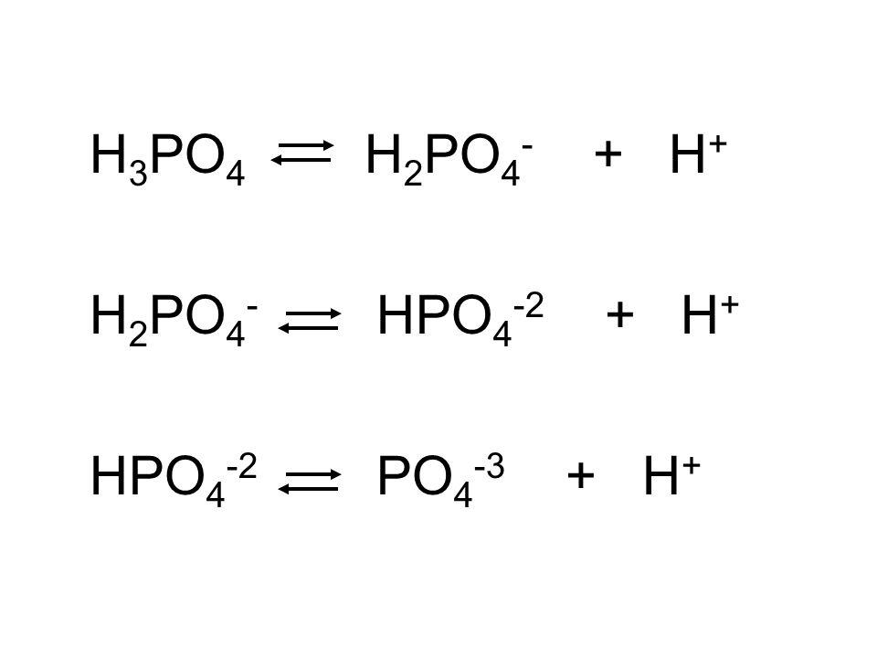 H 3 PO 4 H 2 PO 4 - + H + H 2 PO 4 - HPO 4 -2 + H + HPO 4 -2 PO 4 -3 + H +