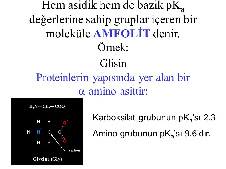Hem asidik hem de bazik pK a değerlerine sahip gruplar içeren bir moleküle AMFOLİT denir. Örnek: Glisin Proteinlerin yapısında yer alan bir  -amino a